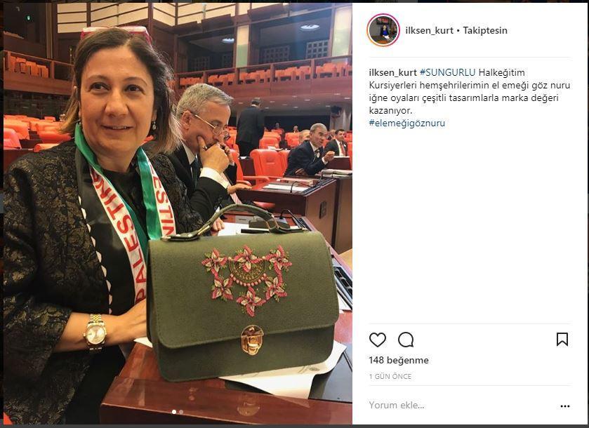 Sungurlu'nun iğne oyalı çantası TBMM'de